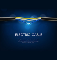 Short circuit in electrical cable banner vector