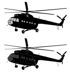 Silhouette of russian mi-8 helicopter vector