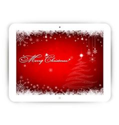 Tablet with Christmas background vector image vector image