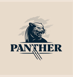 the black aggressive panther bared its teeth vector image
