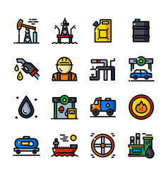 Thin line oil industry icons vector