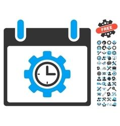 Time Gear Calendar Day Icon With Bonus vector image