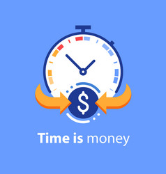 Time is money concept timely payment easy loan vector