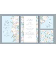 Tulip blue invitation set vector