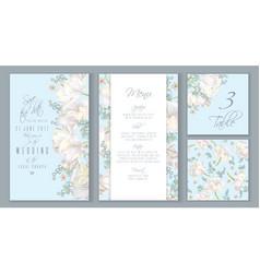 Tulip blue invitation set vector