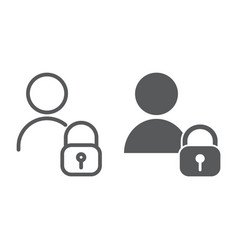 user unlocked line and glyph icon privacy safety vector image