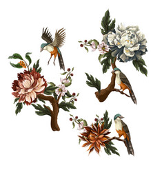 Vintage dark bouquets with peony rose and bird vector