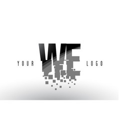 we w e pixel letter logo with digital shattered vector image