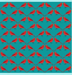 Winter red birds pattern seamless vector