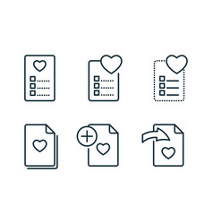 wishlist and favorites line icons set on white vector image