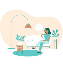 young woman sitting at home cozy domestic vector image