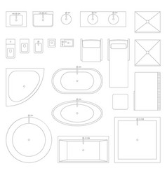 Line interior icons for bathroom vector