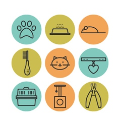 Set of pets flat icons cat symbols for design vector image vector image