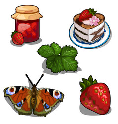 strawberry jam berry cake and butterfly vector image vector image