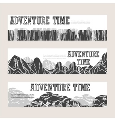 Abstract mountain horizontal banners set vector image vector image