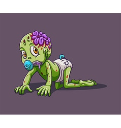 Baby zombie crawling alone vector image
