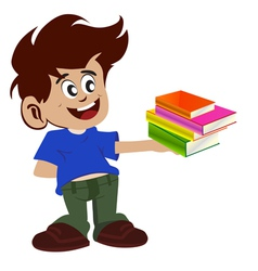 kid and books vector image