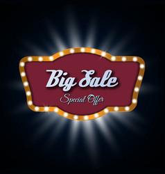 Big sale light frame retro billboard vector image