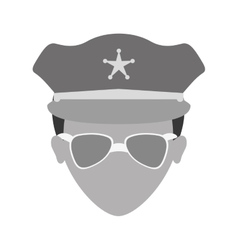 grayscale police face icon image vector image