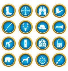 hunting icons blue circle set vector image