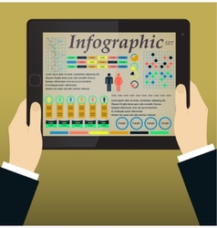 Infographics on the Tablet PC Hands vector image vector image