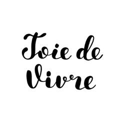 Joie de vivre Joy of life in French Lettering vector image