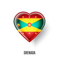 patriotic heart symbol with grenada flag vector image vector image