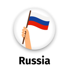 russian flag in hand round icon vector image vector image