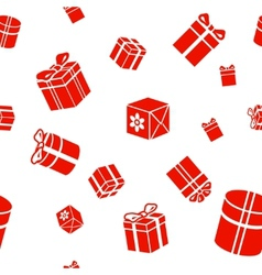 Seamless Gift pattern red gift boxes on vector image