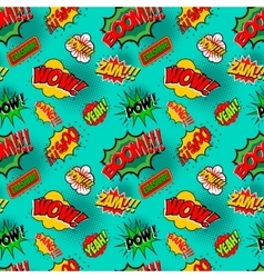 Seamless pattern with comic style phrases Pop art vector image