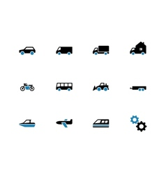 Cars duotone icons on white background vector image