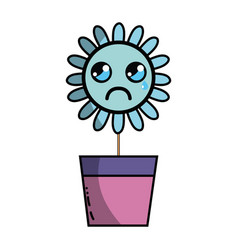 Kawaii beauty and crying flower plant vector
