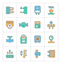Set line icons of heating vector