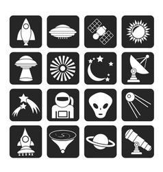 Silhouette space and universe icons vector image vector image