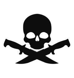 Skull and 2 crossed knifes black emblem vector image vector image