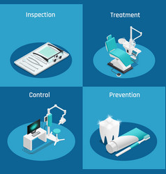 stomatology dentistry isometric icon set vector image vector image