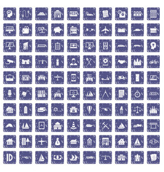100 private property icons set grunge sapphire vector image