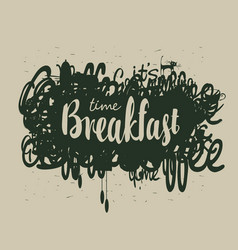 Abstract breakfast banner with inscription vector