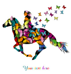 Abstract woman riding a horse and butterflies vector