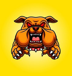 Angry bulldog mascot body with paws and claws vector
