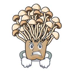 Angry enoki mushroom mascot cartoon vector