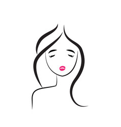 beautiful girl hair salon icon vector image