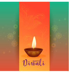beautiful happy diwali festival greeting design vector image
