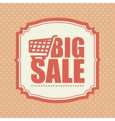 Big sale shop cart polka dot vintage vector