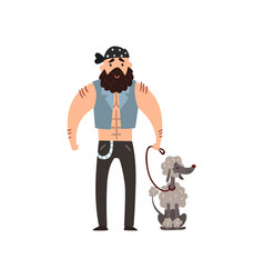 Brutal man walking his poodle pet dog vector