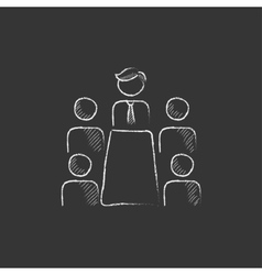 Business meeting in the office Drawn in chalk vector