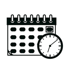 Calendar and clock office supply stationery work vector