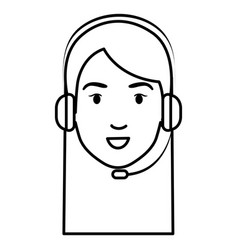 call center agent head avatar character vector image