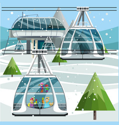 cartoon cable cars moving above the ground vector image