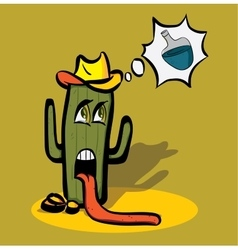 Cartoon cactus faint from thirst in the desert and vector image